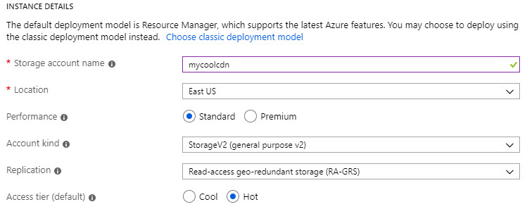Setting up a CDN using Azure Storage