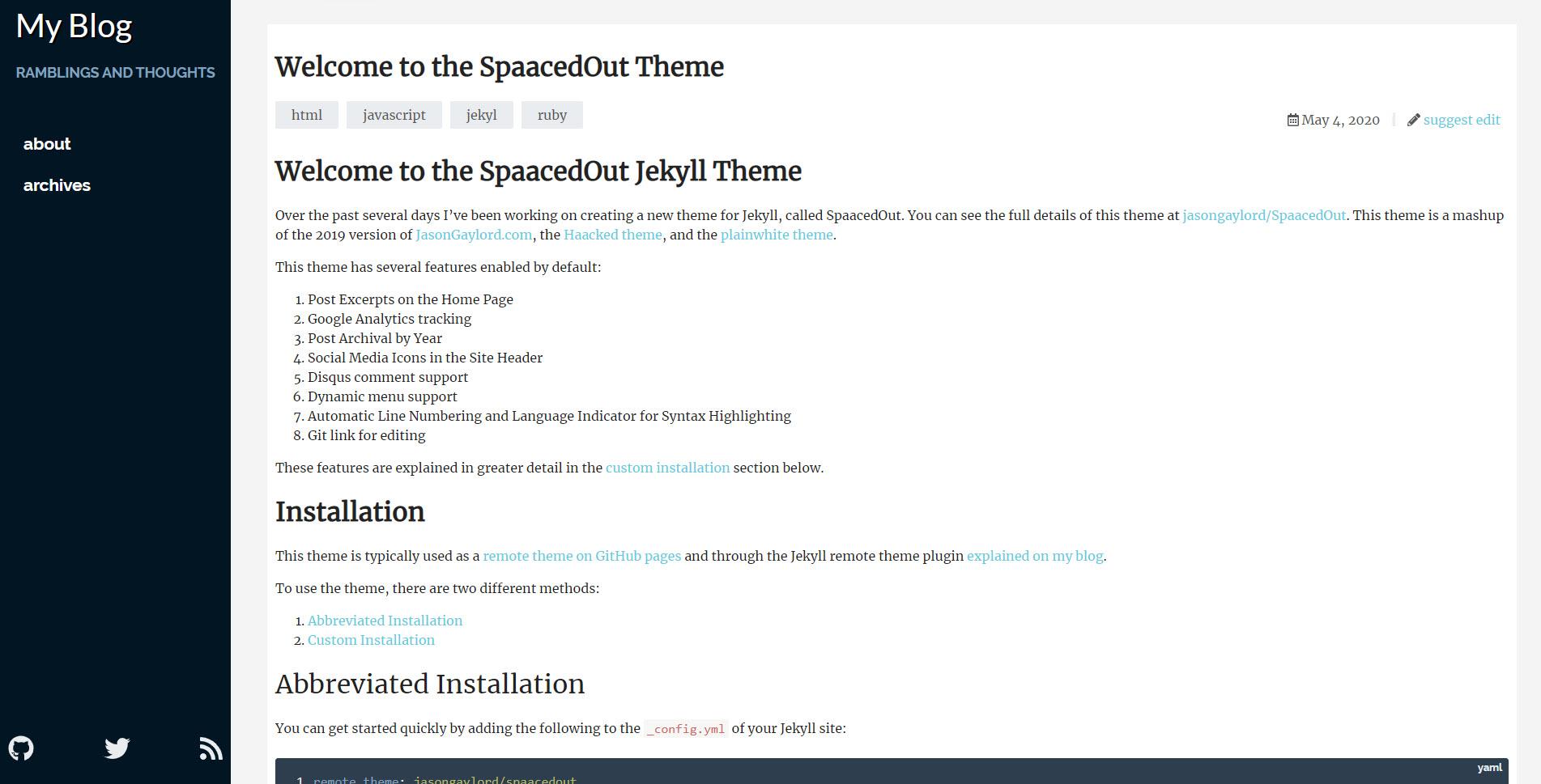 SpaacedOut Theme Desktop View