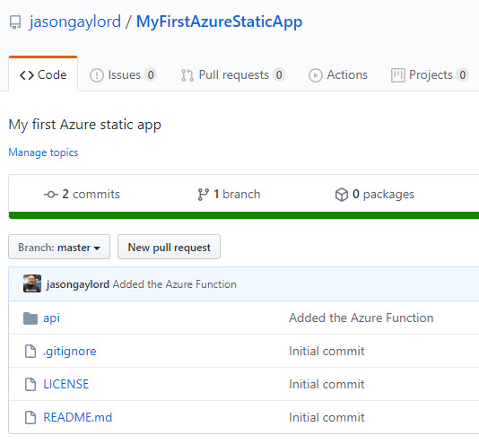 An Azure Function pushed to GitHub