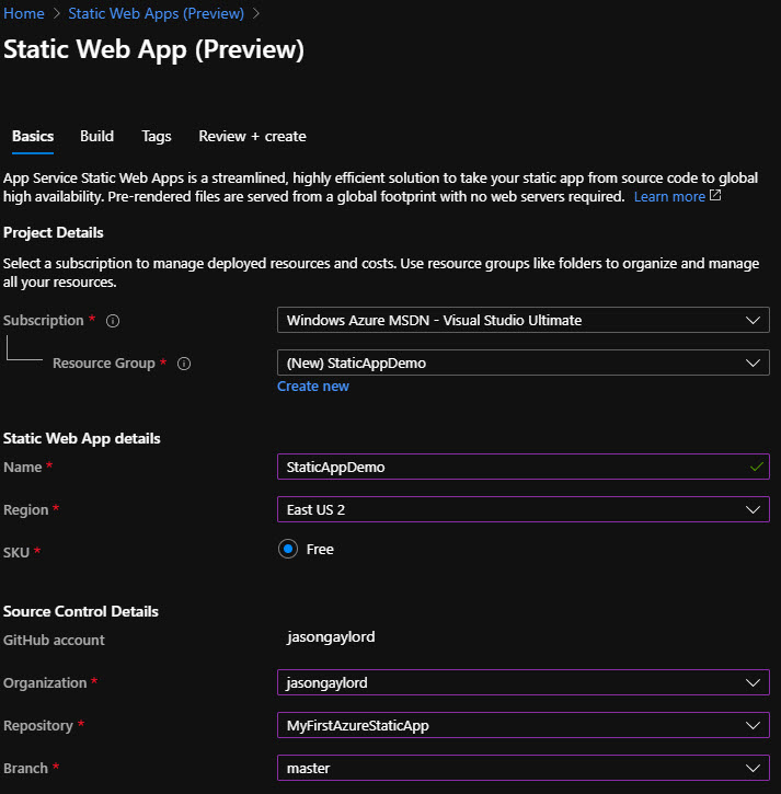 Basic Settings blade of New Static Web App Wizard