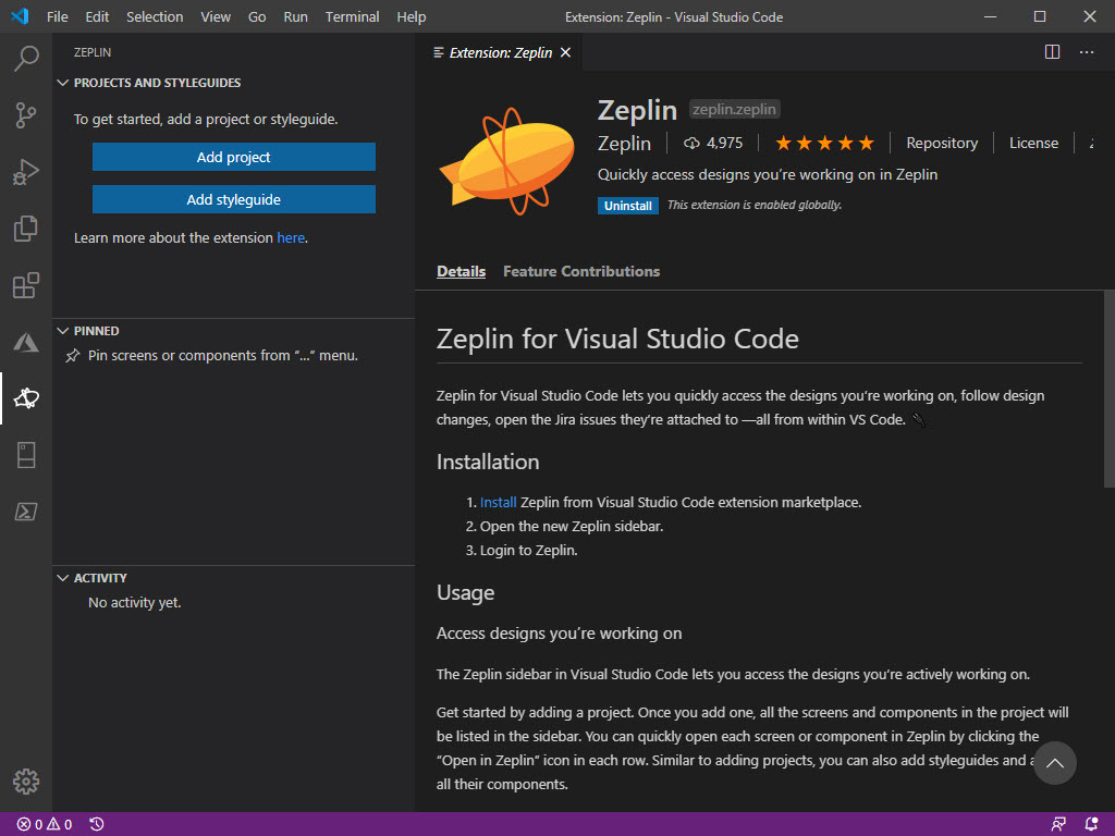 Zeplin Extension installed inside of my Visual Studio Code instance.