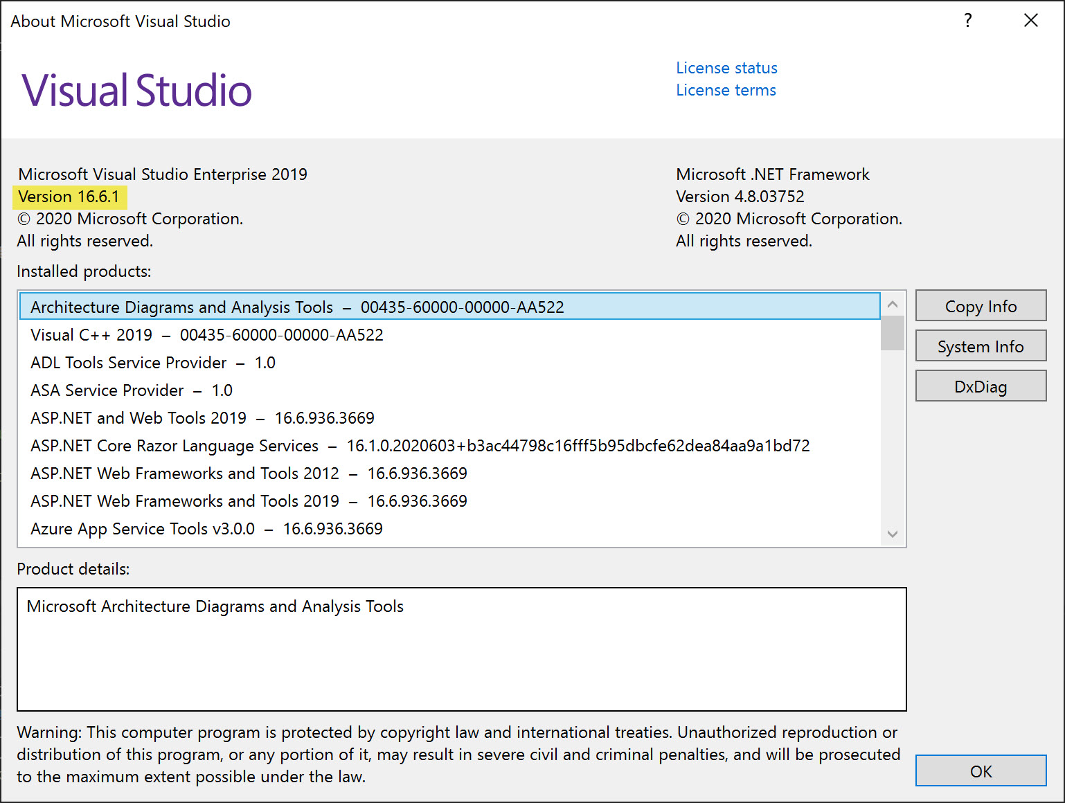 The current Visual Studio version installed is 16.6.1