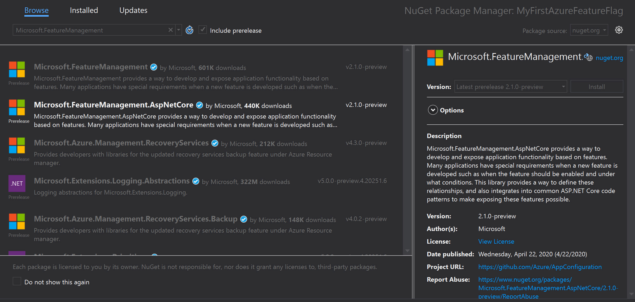The Feature Management NuGet Package for ASP.NET Core
