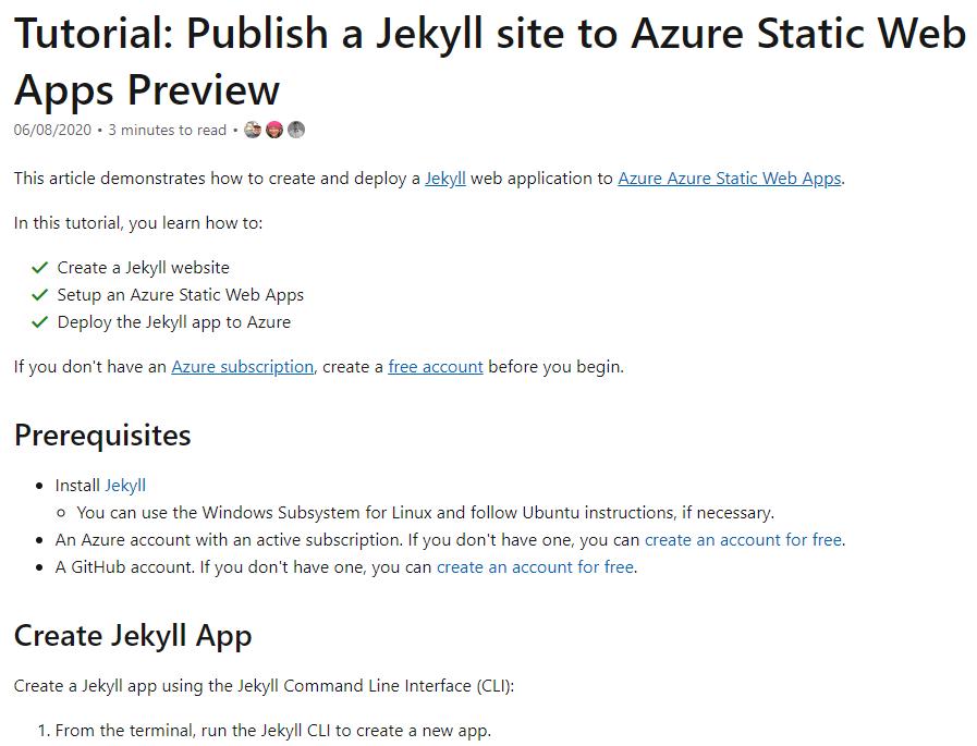 Microsoft Docs Tutorial - Publishing Jekyll to Azure Static App