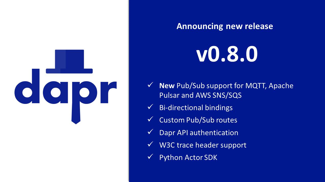 Dapr v0.8 features