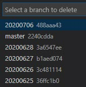 Delete Branch dialogue in VS Code