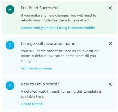 Alexa Developer Console Toast Notifications