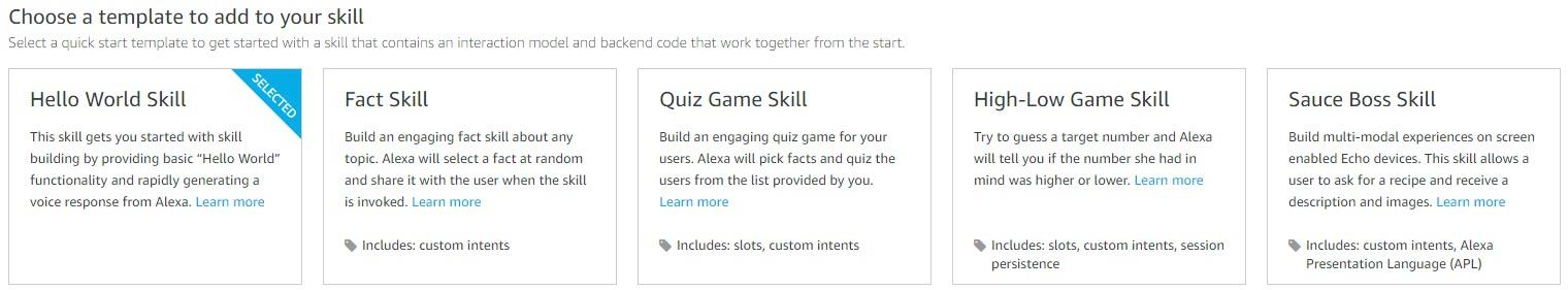 Choose an Alexa Skill Template