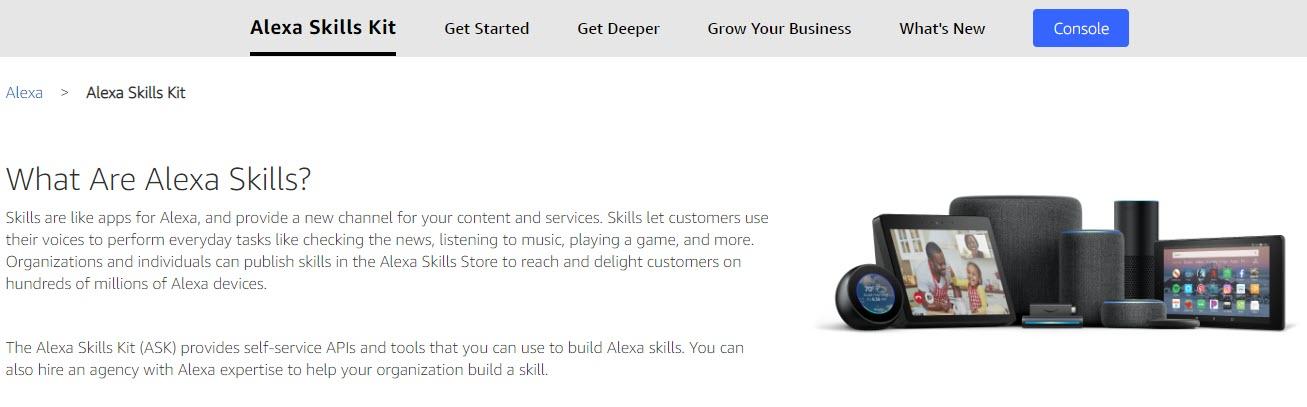 Console button in the Create Alexa Skills screen