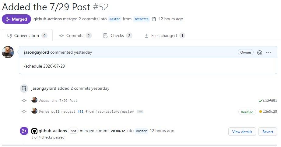 GitHub Action Merged 7/29 Post