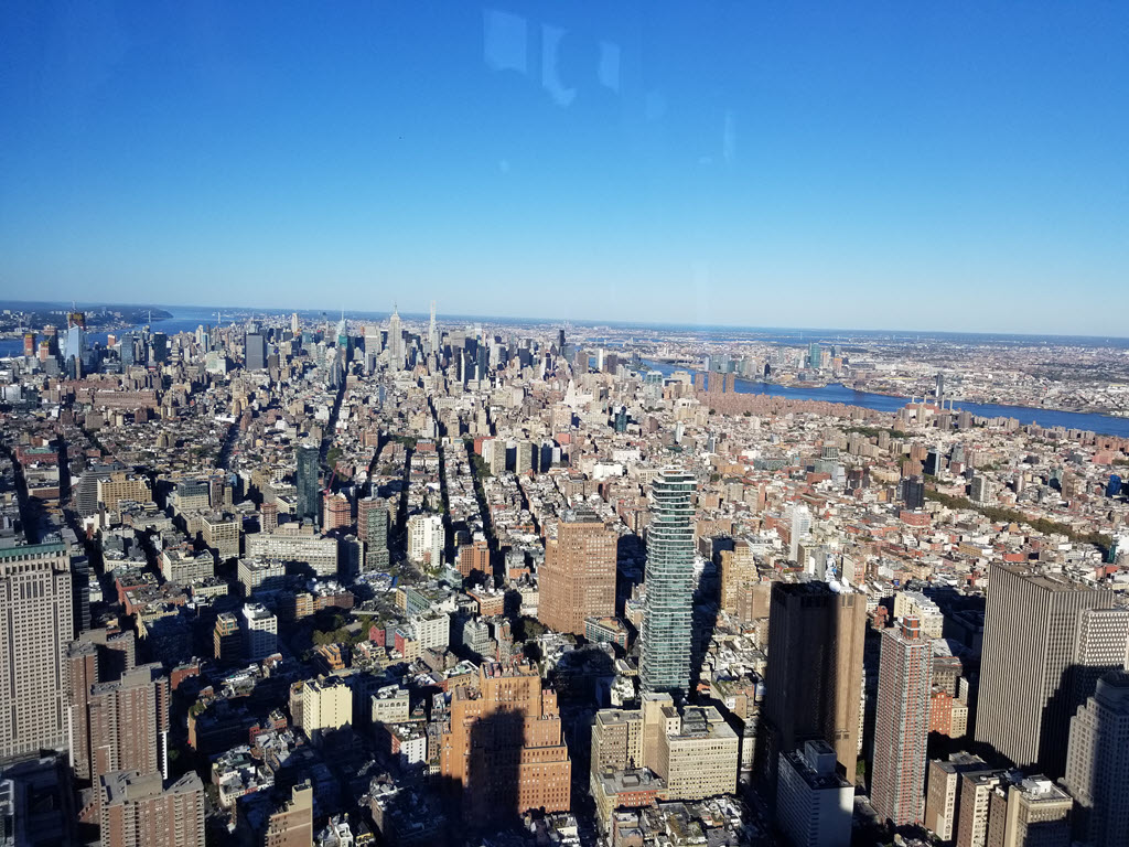 Uptown NYC from the One World Trade Center Observation Deck