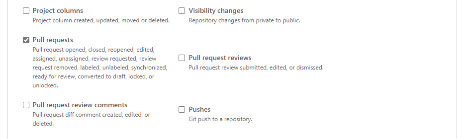 Choose Pull Request from the GitHub Webhook Trigger Events