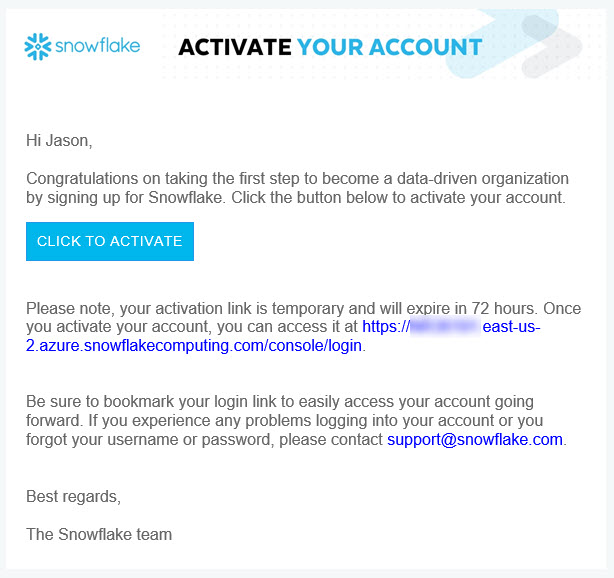 Snowflake Account Activation Email
