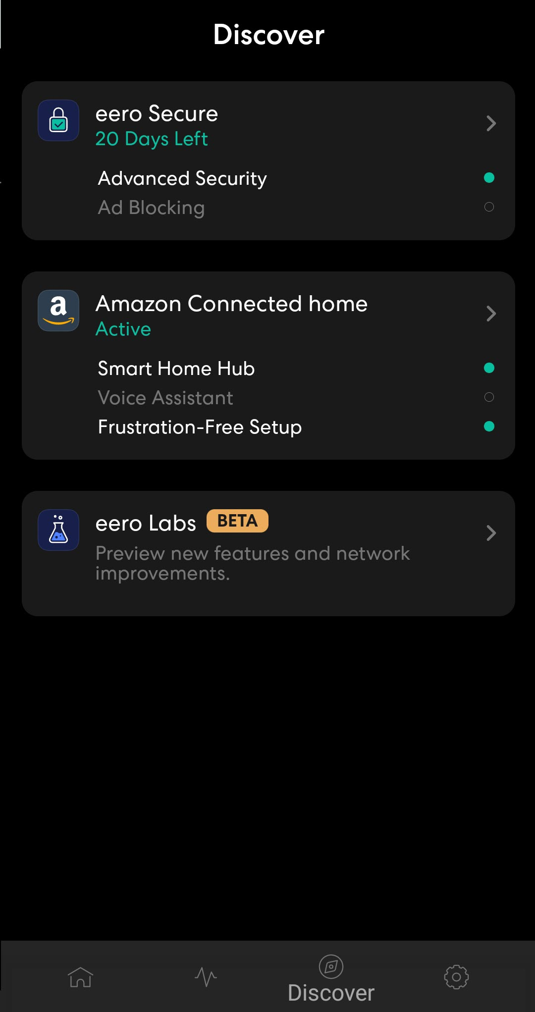 Discover tab in the eero Pro app