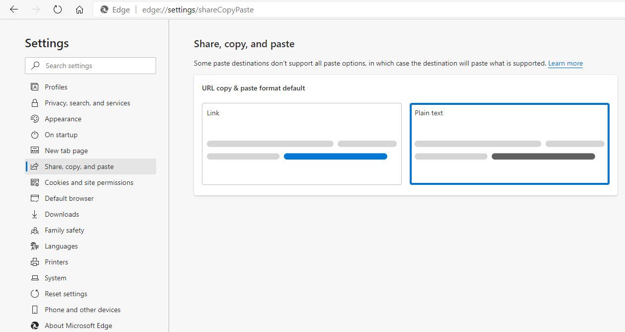 Microsoft Edge Copy Paste Settings