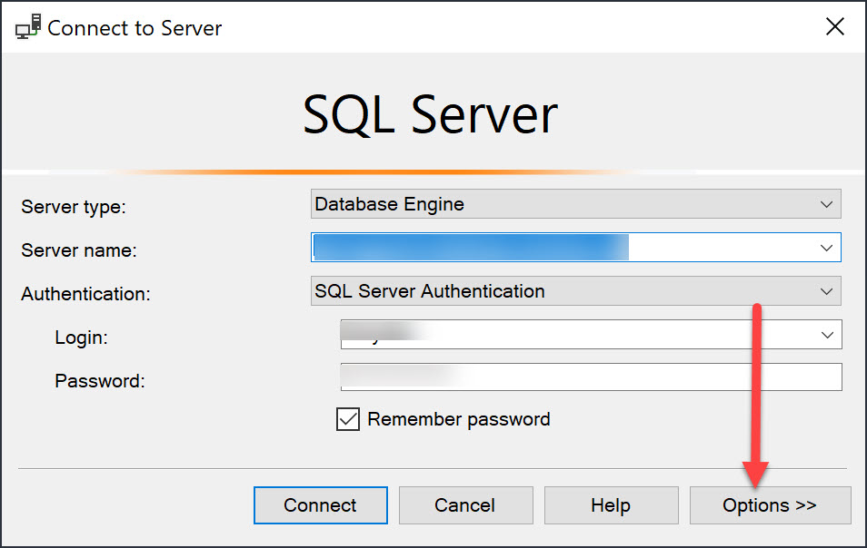 Connect to Server Dialogue in SQL Server Management Studio