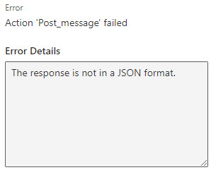 Power Automate Error: The response is not in a JSON format